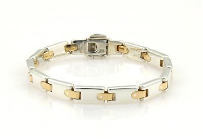 Tiffany & Co  925 Silver & 18k Yellow Gold H Bar Link Bracelet 7 5