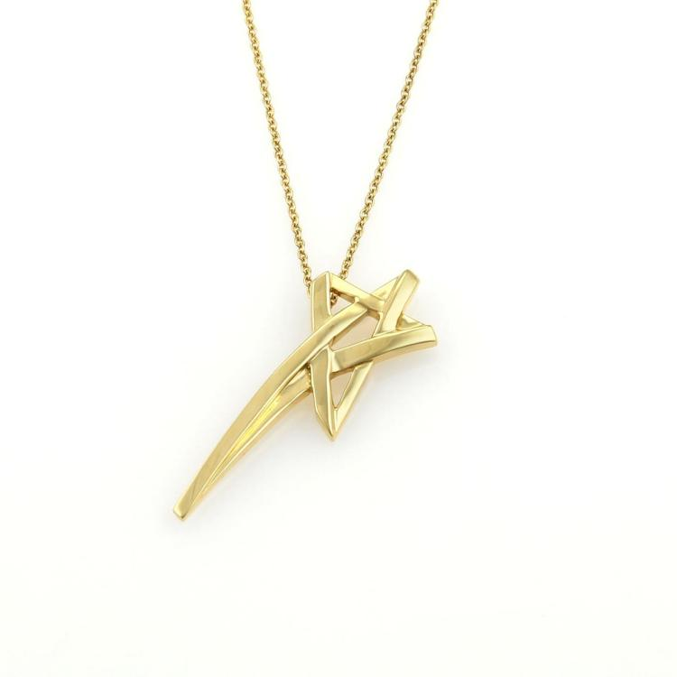 Tiffany co picasso 18k yellow gold shooting star pendant for Star hallmark on jewelry