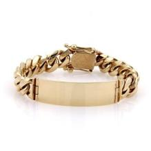 Men's Hefty 14k Yellow Gold ID Bar 12mm Wide Curb Chain Link Bracelet 80 Grams