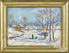 Christopher Willett oil on board winter landscape