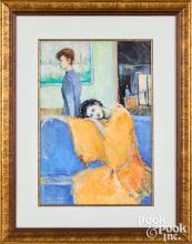 Christopher Willett oil on paper Venetian Woman I