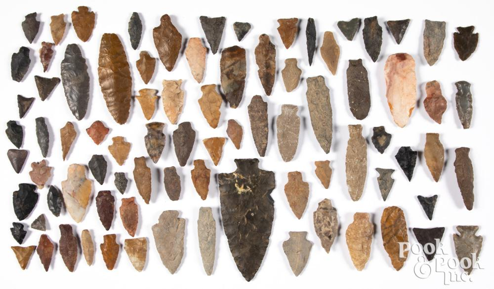 Group of approximately eighty various stone points