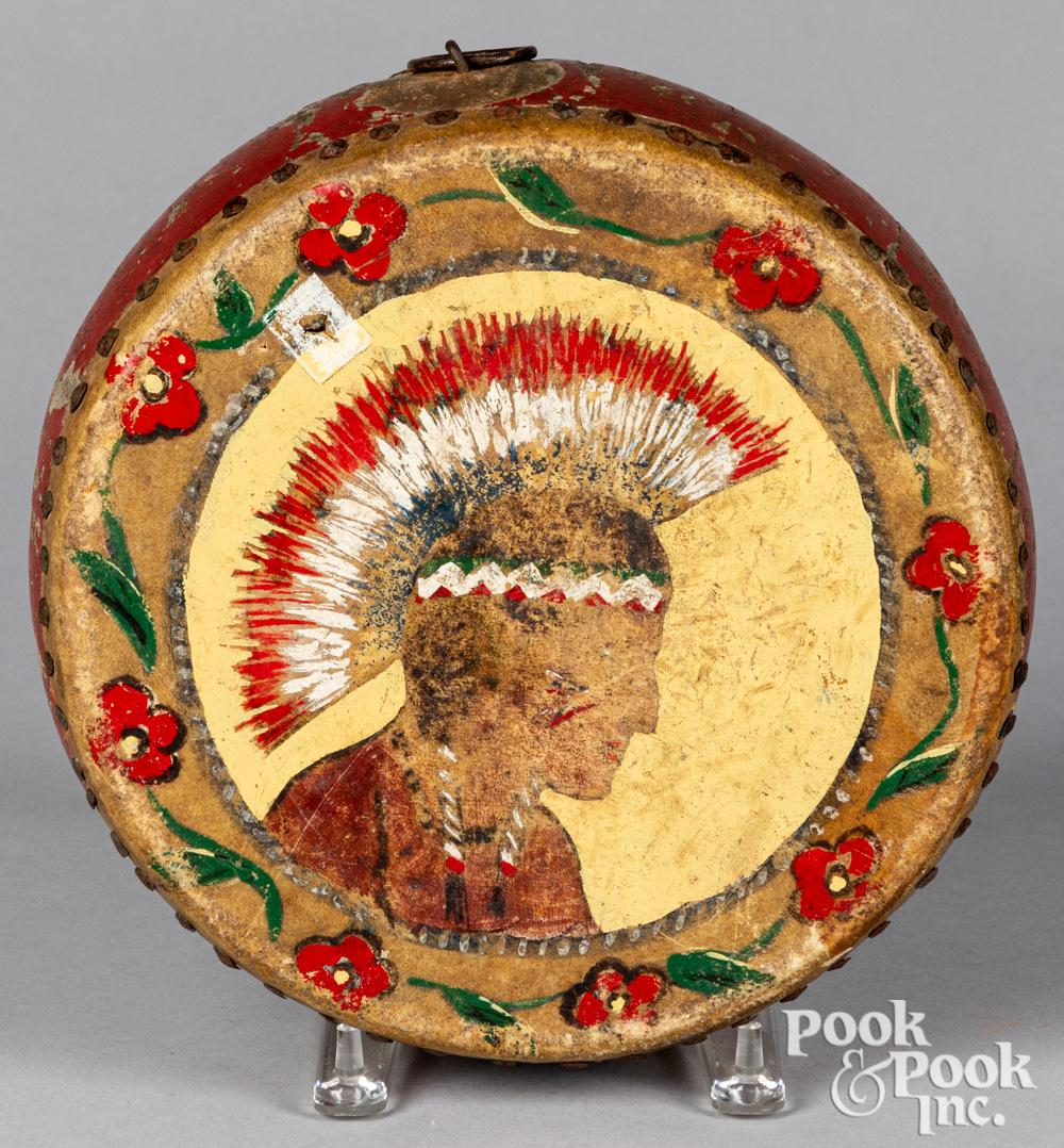 Native American Indian painted wood and hide drum