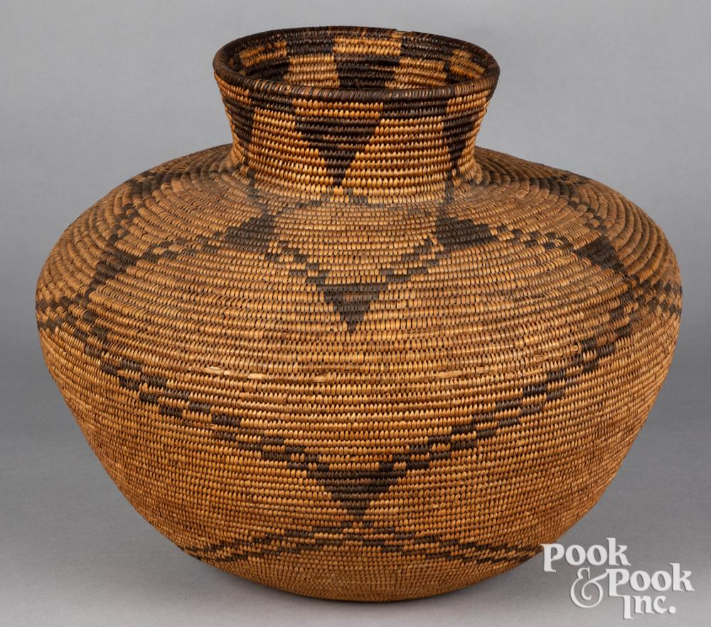 Apache Indian rounded olla-form coiled basket