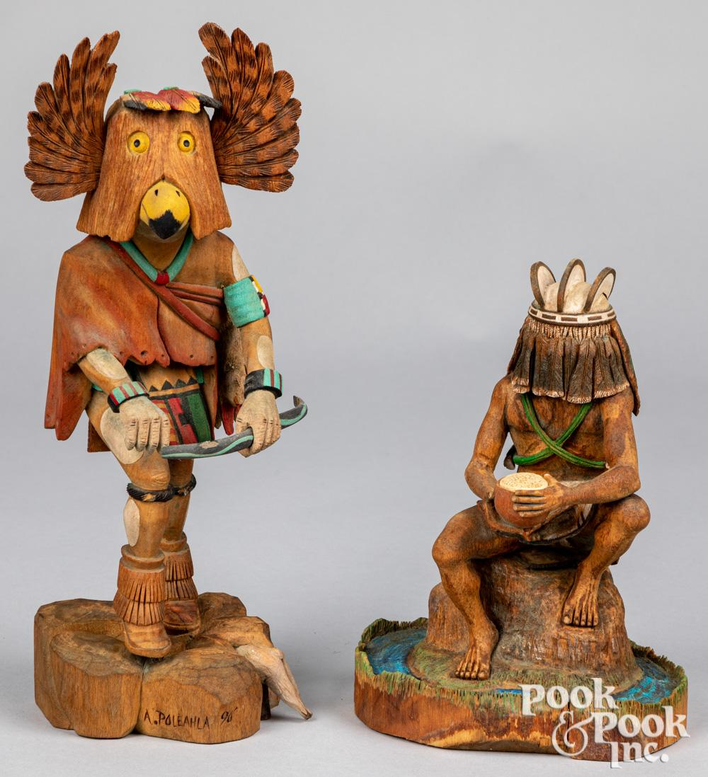 Two Hopi Indian carved kachina dolls
