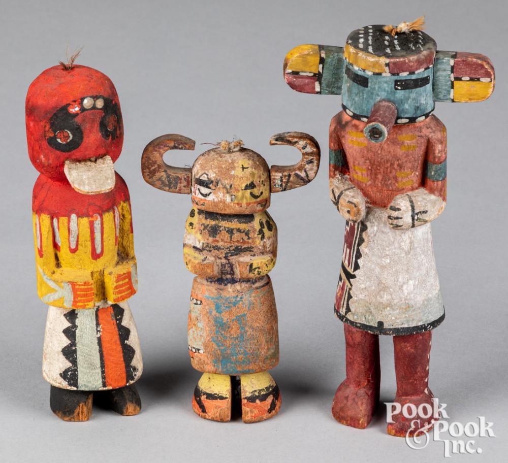 Three Native American Indian painted kachina dolls