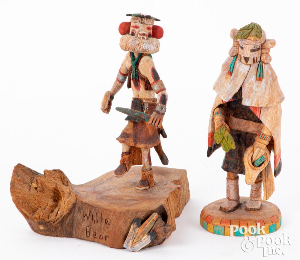 Two Elgean Joshevama Jr. Hopi Indian kachinas