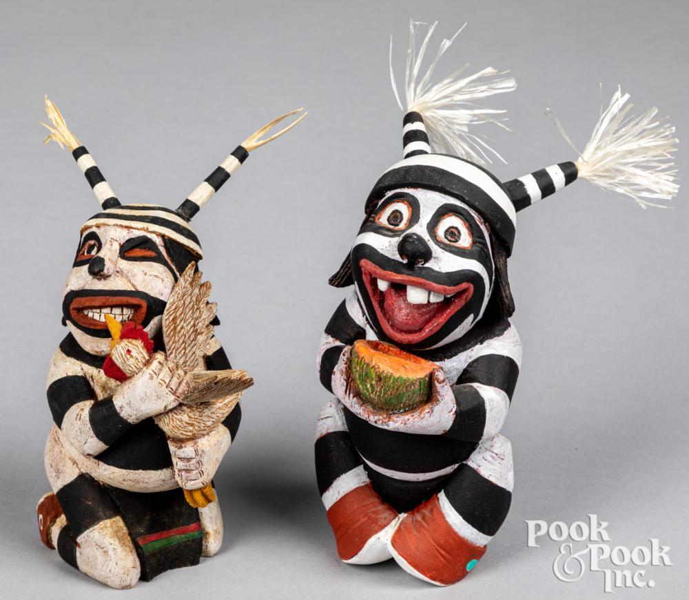 Two Hopi Indian jester kachina carved figures