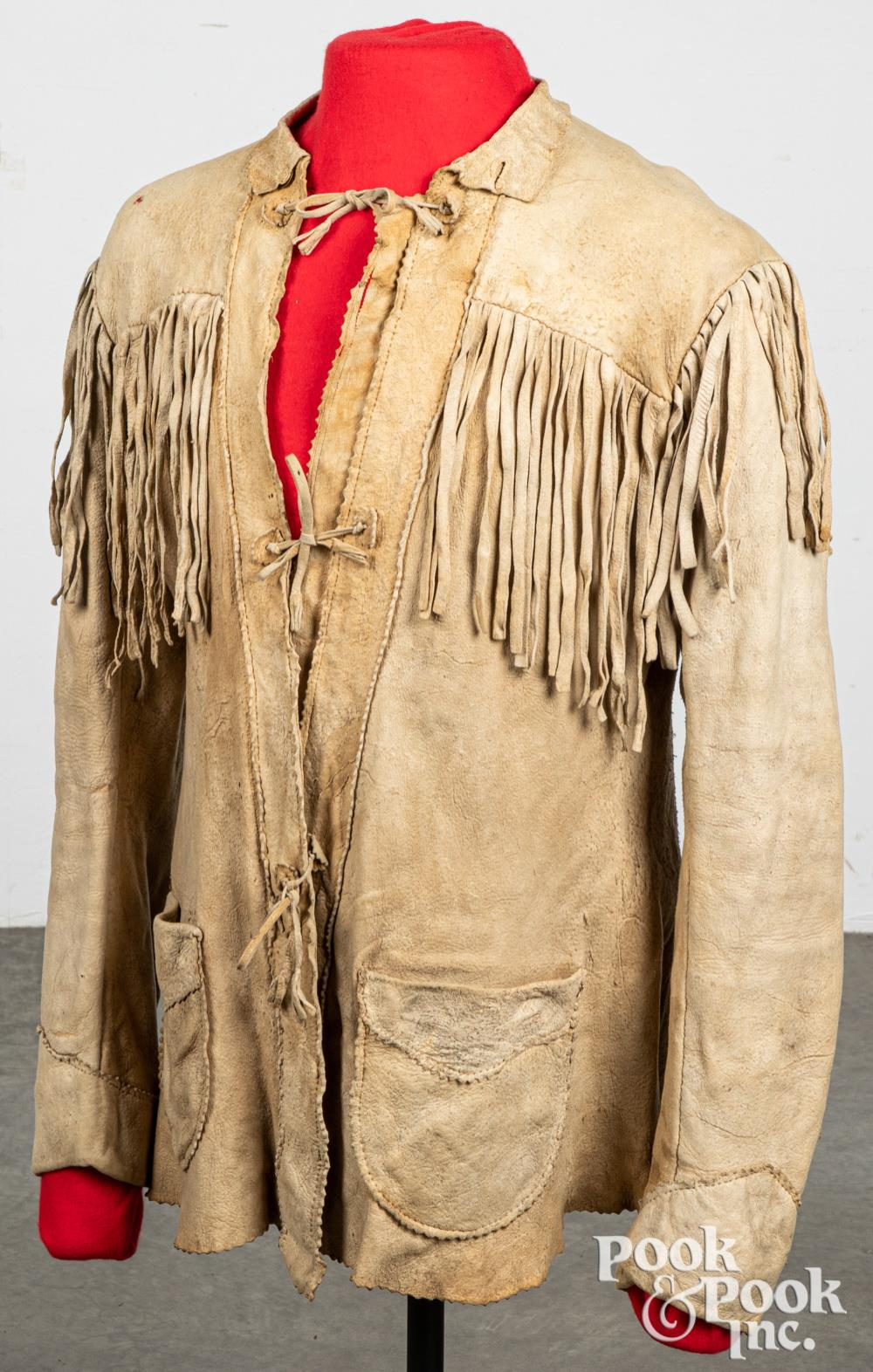 Native American Indian tanned hide scout coat