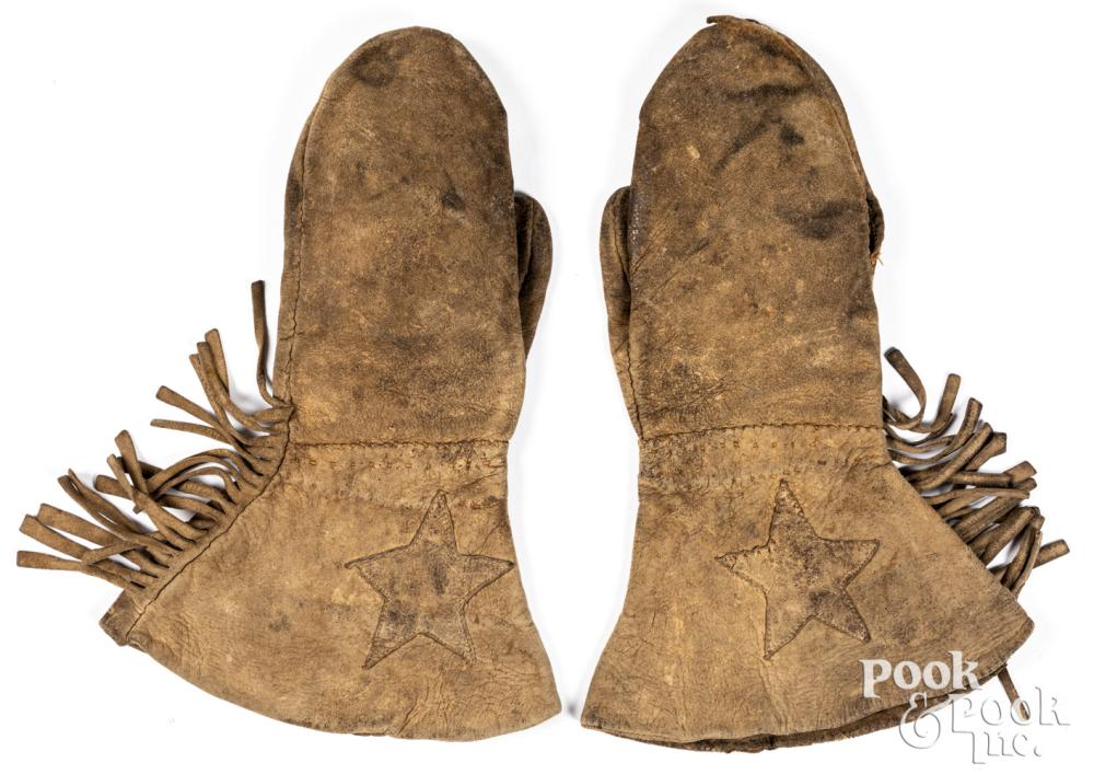 Native American Indian tanned hide mitten gloves