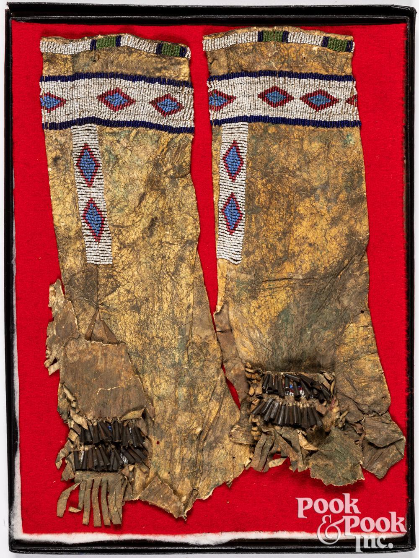 Pair of Plains Indian beaded hide leggings