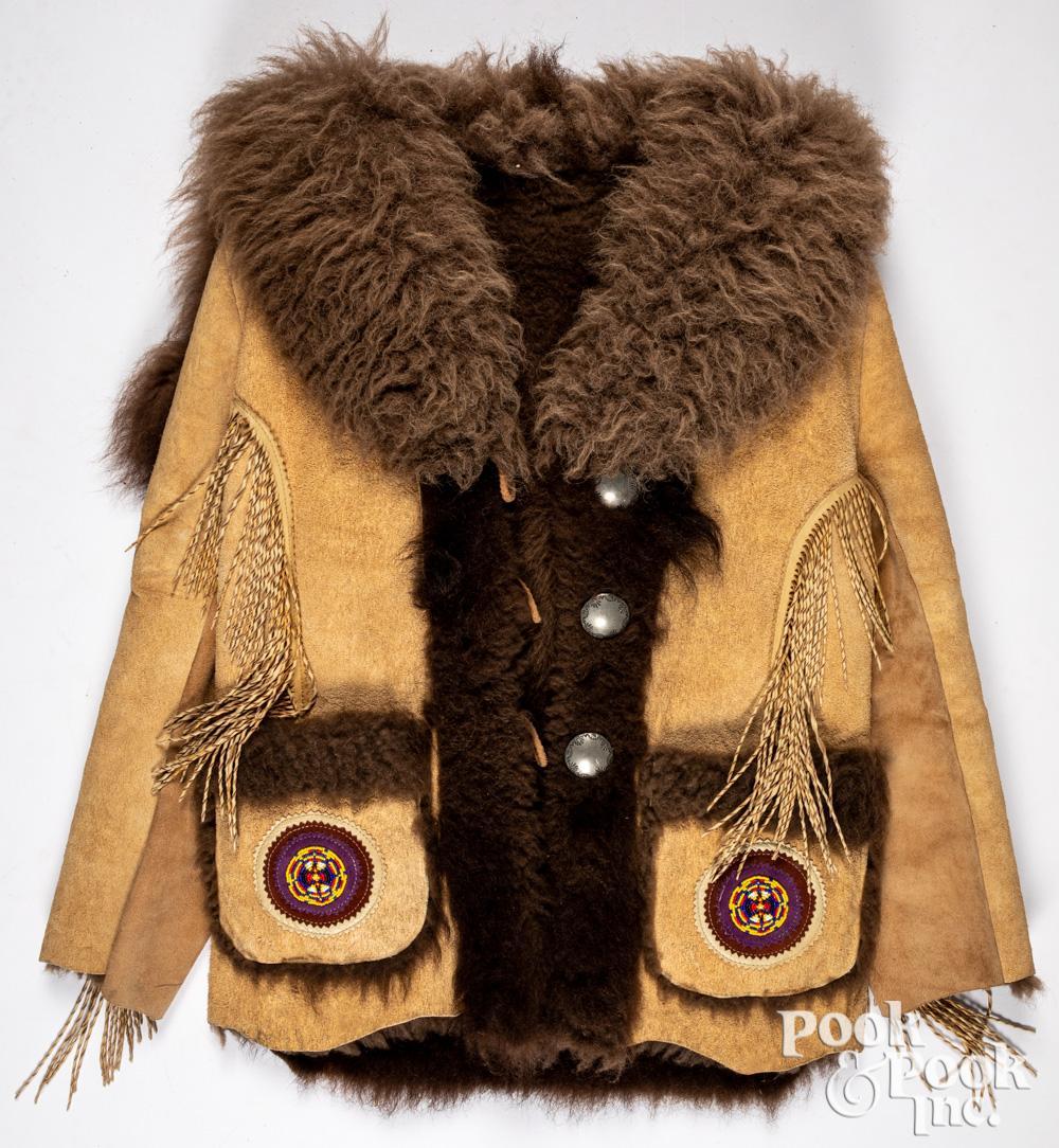 Native American Indian made buffalo hide coat