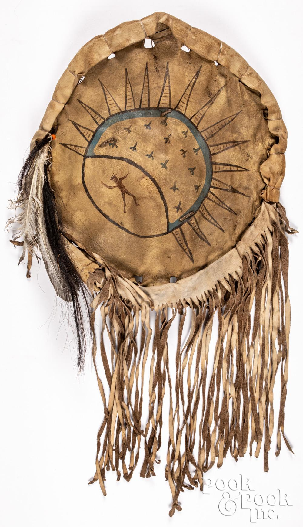 Plains Indian painted buffalo hide shield