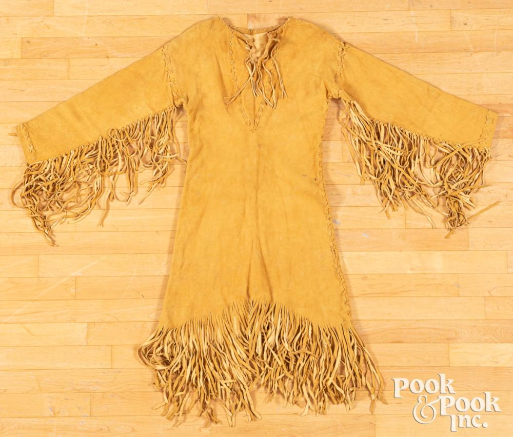 Native American Indian hide dress with fringe