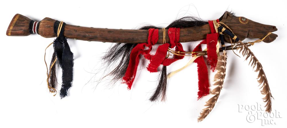 Native American Indian horse fetish dance stick