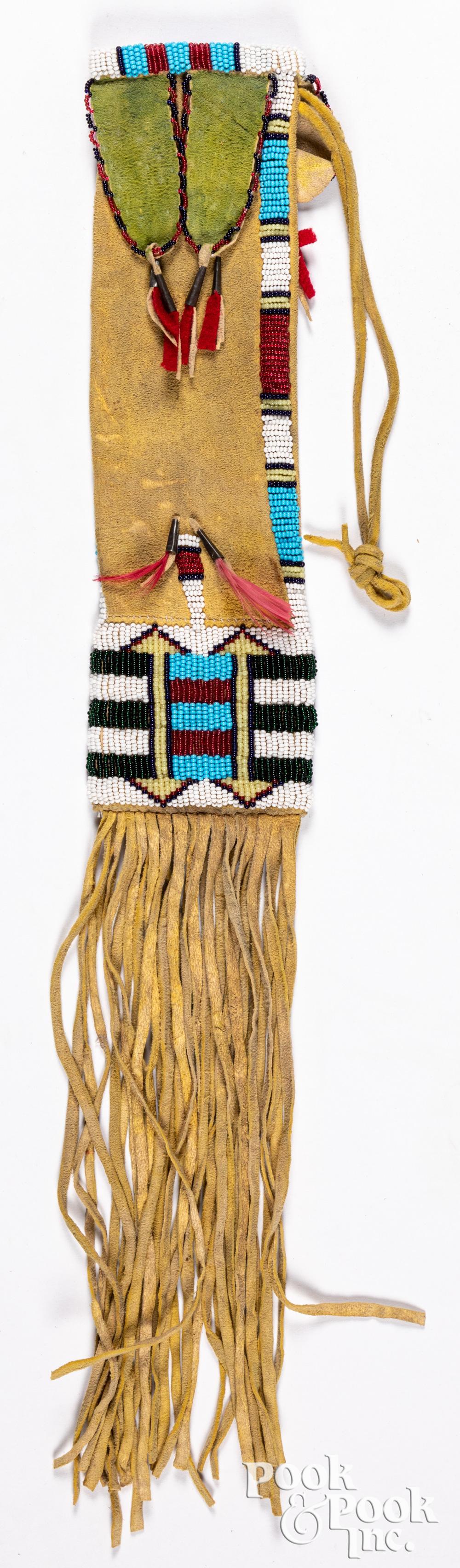 Native American Indian beaded pipe bag