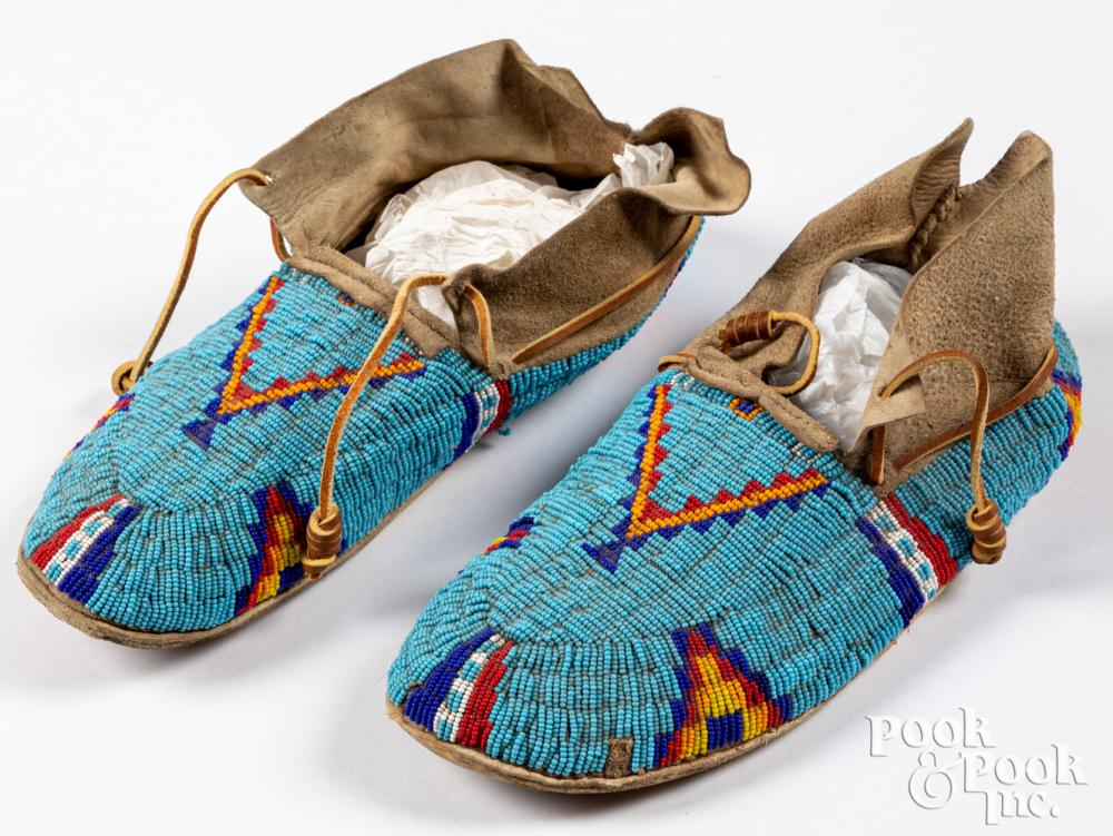 Northern Plains Indian beaded moccasins