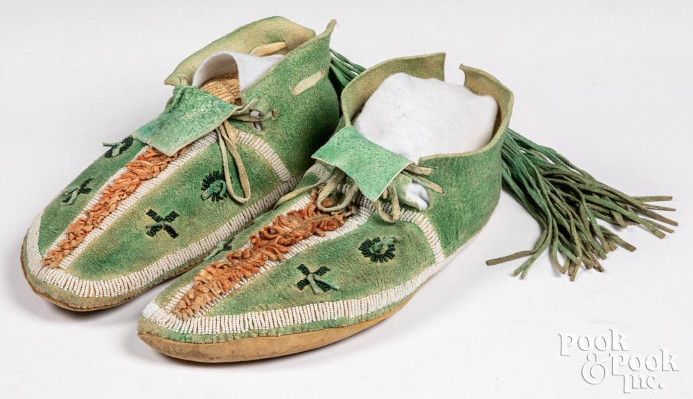 Pair of Native American Indian dyed hide moccasins