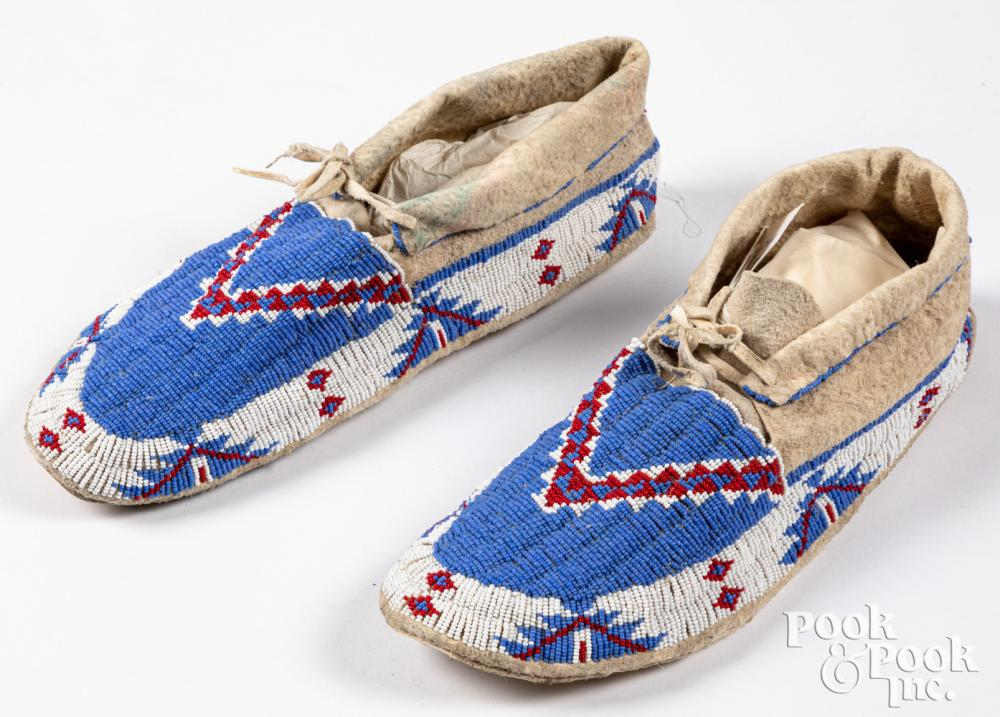 Santee Sioux Indian beaded hide moccasins