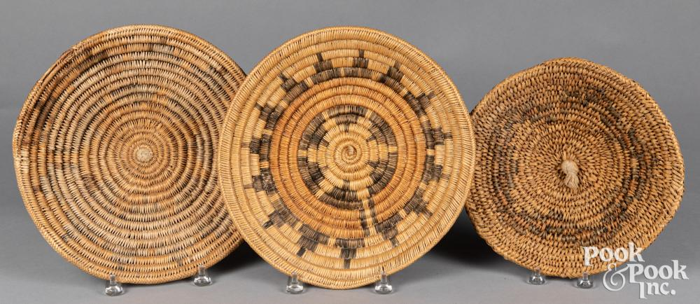 Three Dine Navajo Indian wedding baskets