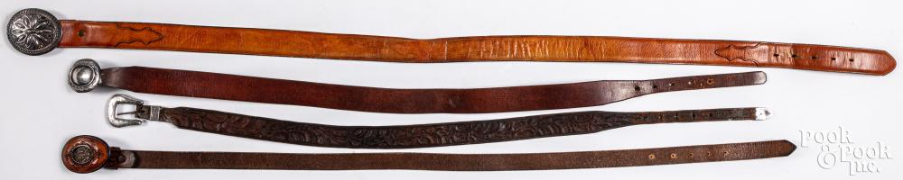 Four Native American Indian handmade leather belts