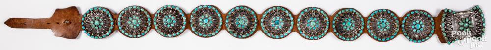 Navajo Indian leather concha belt