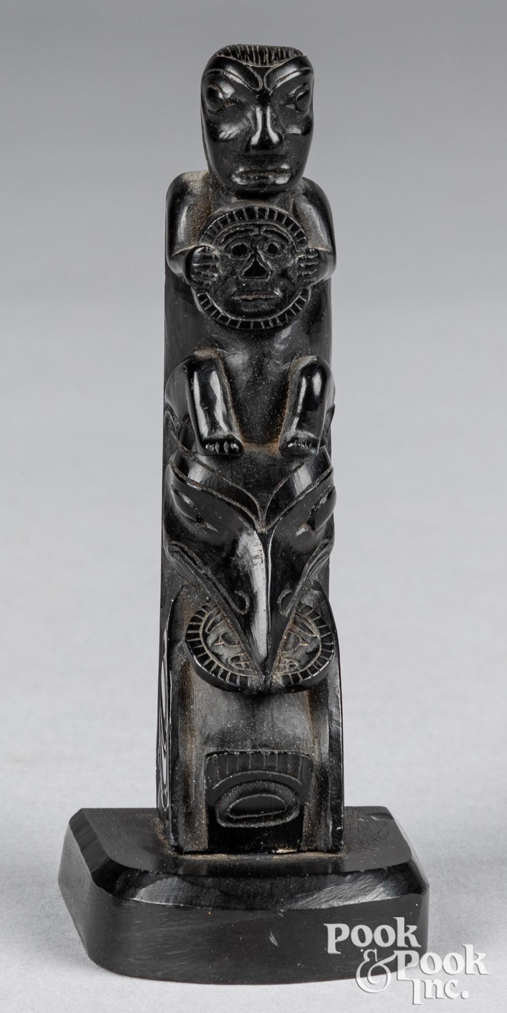 Haida Alaskan Indian argillite carved totem pole