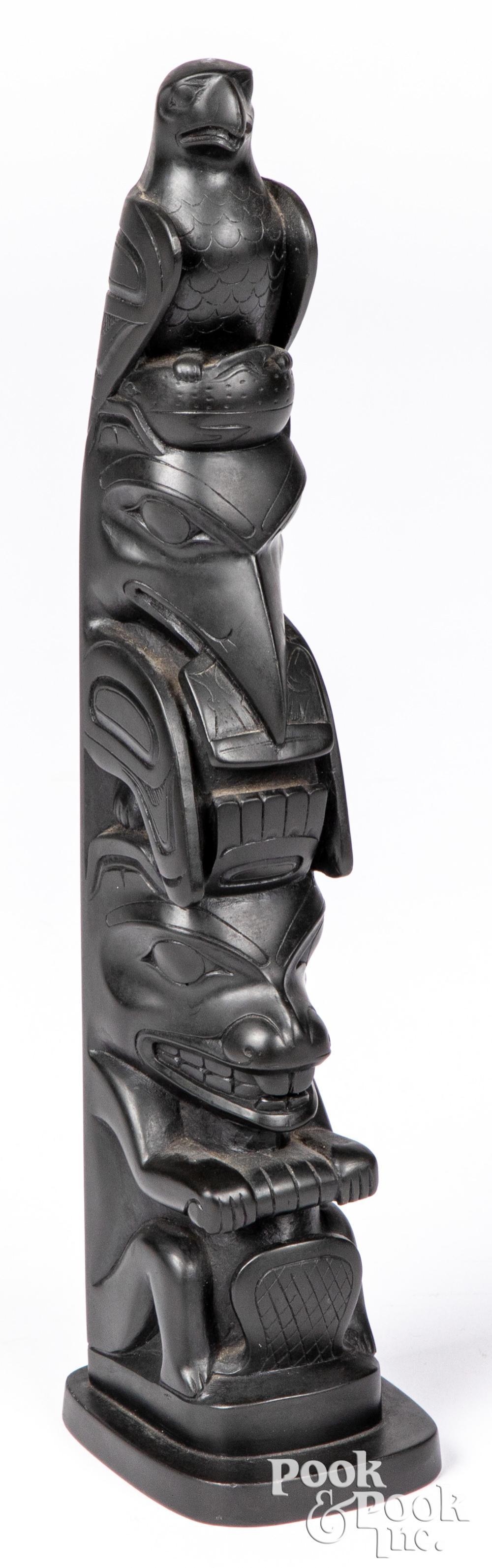 Northwest Coast Haida Indian argillite totem pole