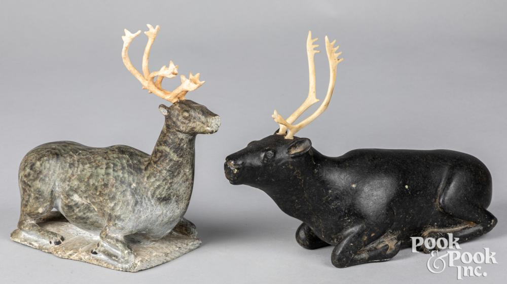Two Inuit Indian carved soapstone reindeer