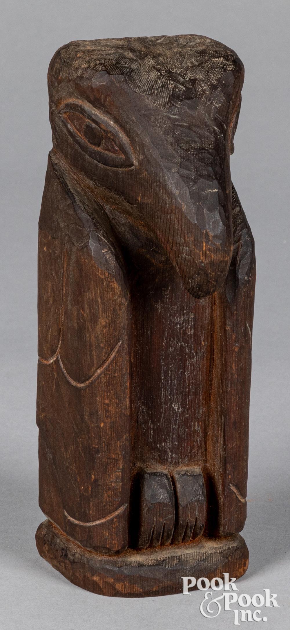 Native American Indian redwood raven totem figure