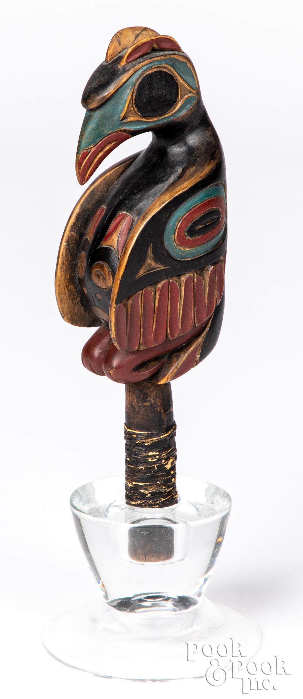 Northwest Coast Indian effigy raven rattle