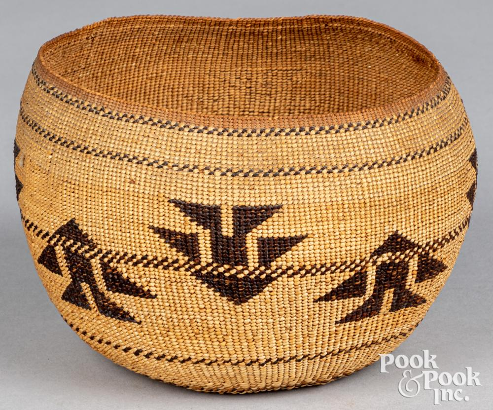 Hupa Yurok Karok Indian basket, early 20th c.