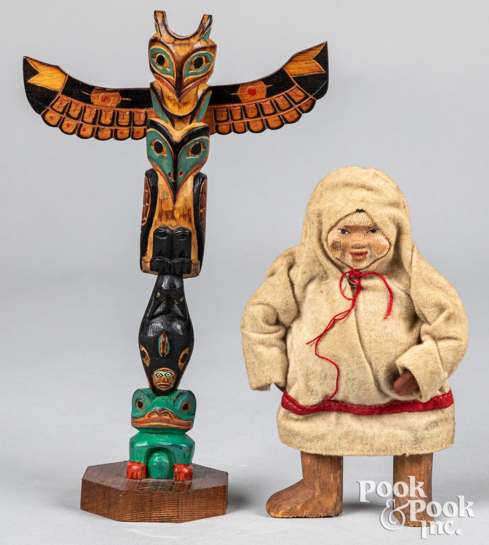 Pacific Northwest Coast Indian carved totem pole