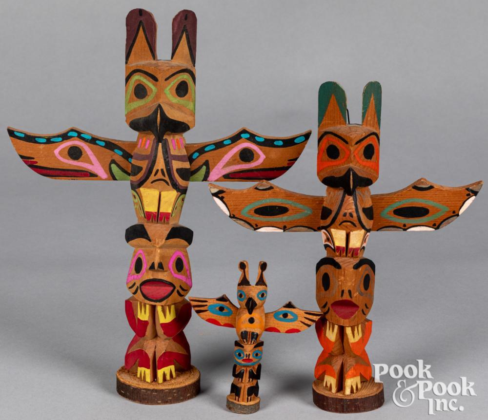 Three Pacific Northwest Coast Indian totem poles