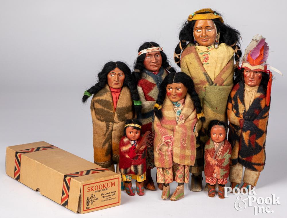 Seven Native American Skookum dolls, early 20th c.