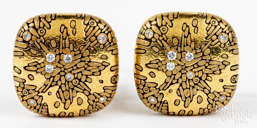 Pair of Alex Sepkus 18K gold and diamond earrings