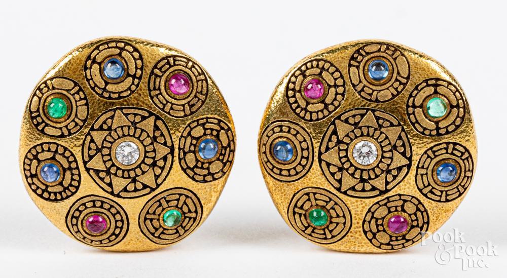 Alex Sepkus 18K gold, diamond, & stone earrings