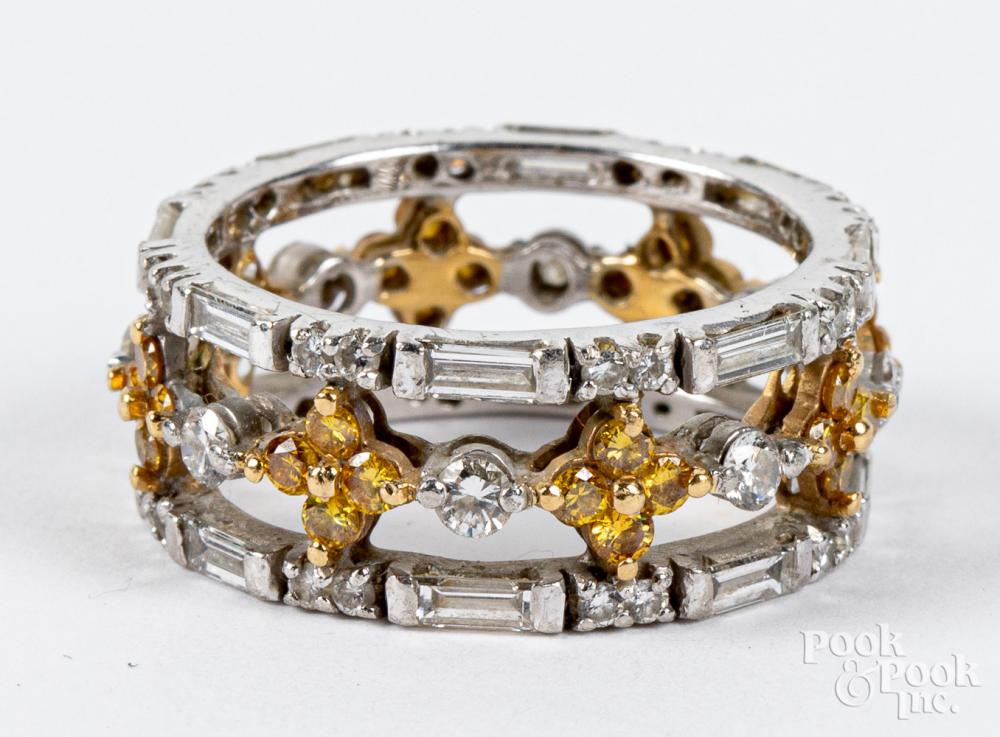 Platinum, 18K gold, and diamond ring