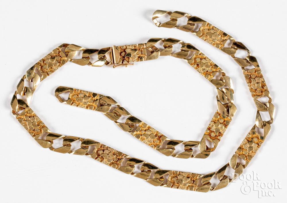 14K gold necklace, 28.2dwt.