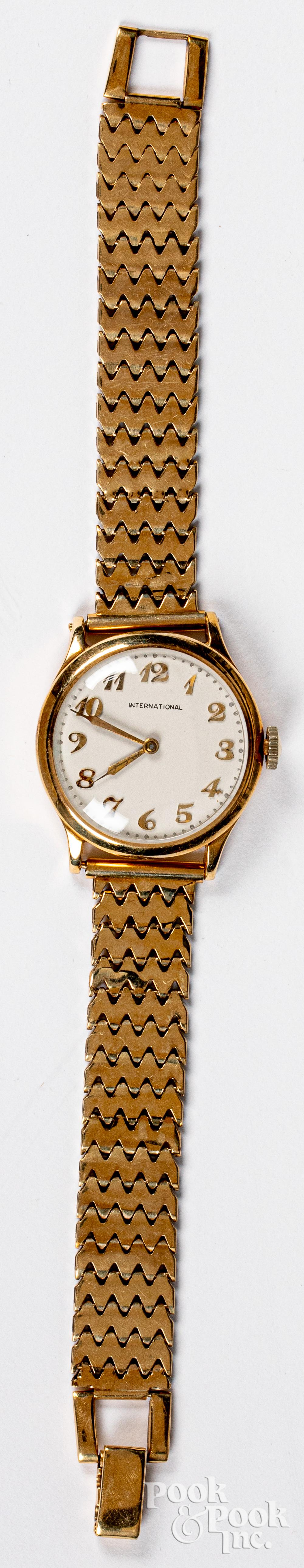 International 14K gold wristwatch, 27.7dwt.