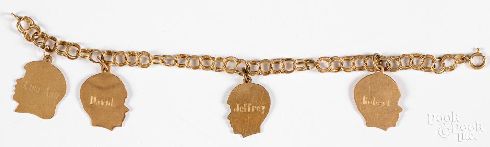 14K gold charm bracelet, 8.2dwt.