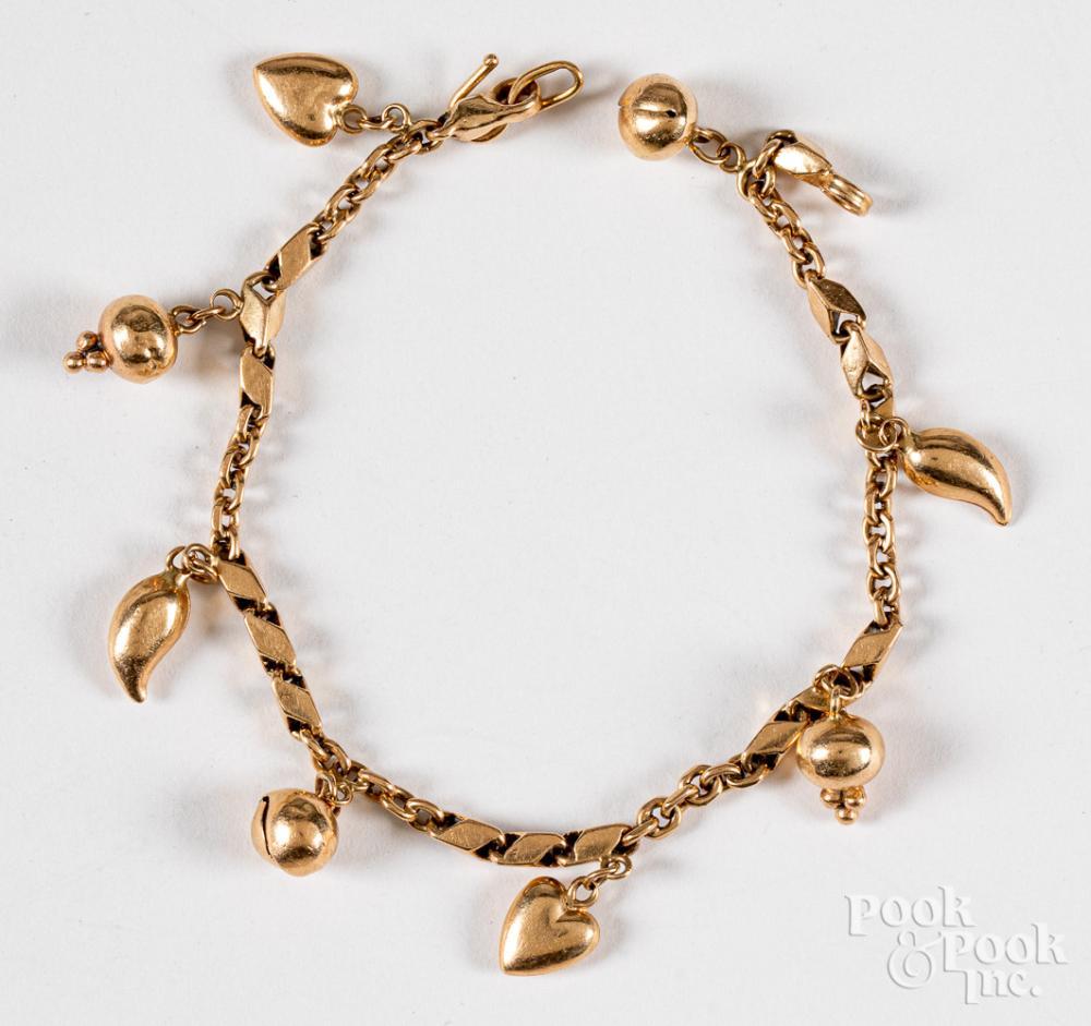 14K gold charm bracelet, 7.4dwt.