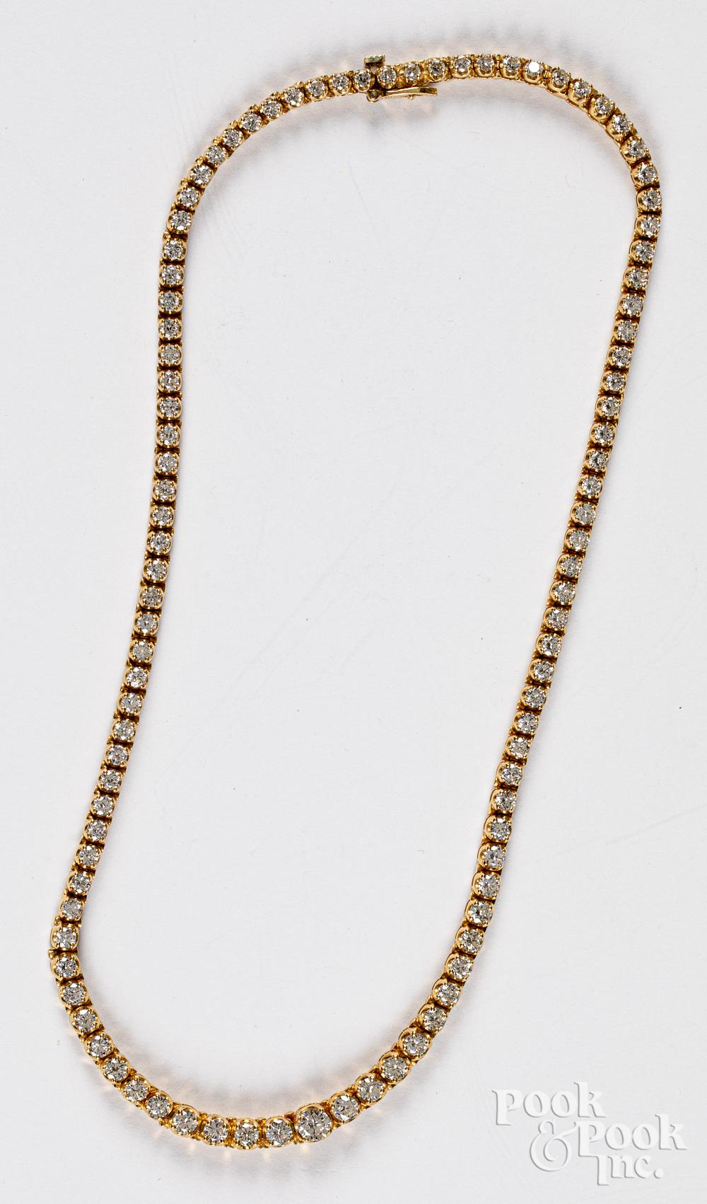 14K gold and diamond necklace, 21.7dwt.