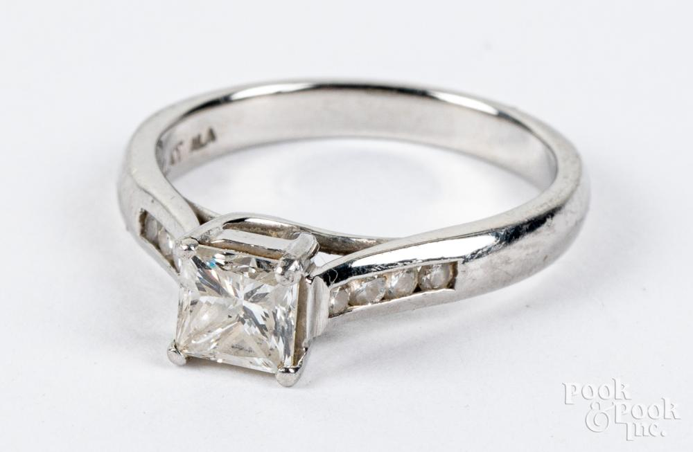 Platinum and diamond ring, 3.7dwt, size 7.