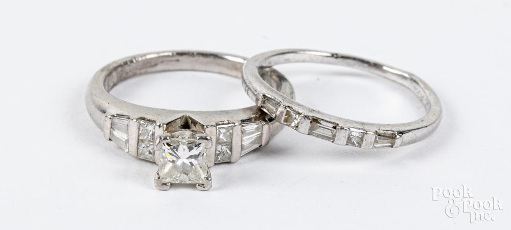 950 Platinum and diamond wedding band set