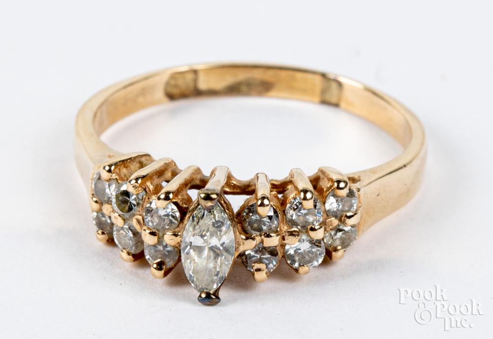 14K gold and diamond ring, 2.1dwt, size 8.