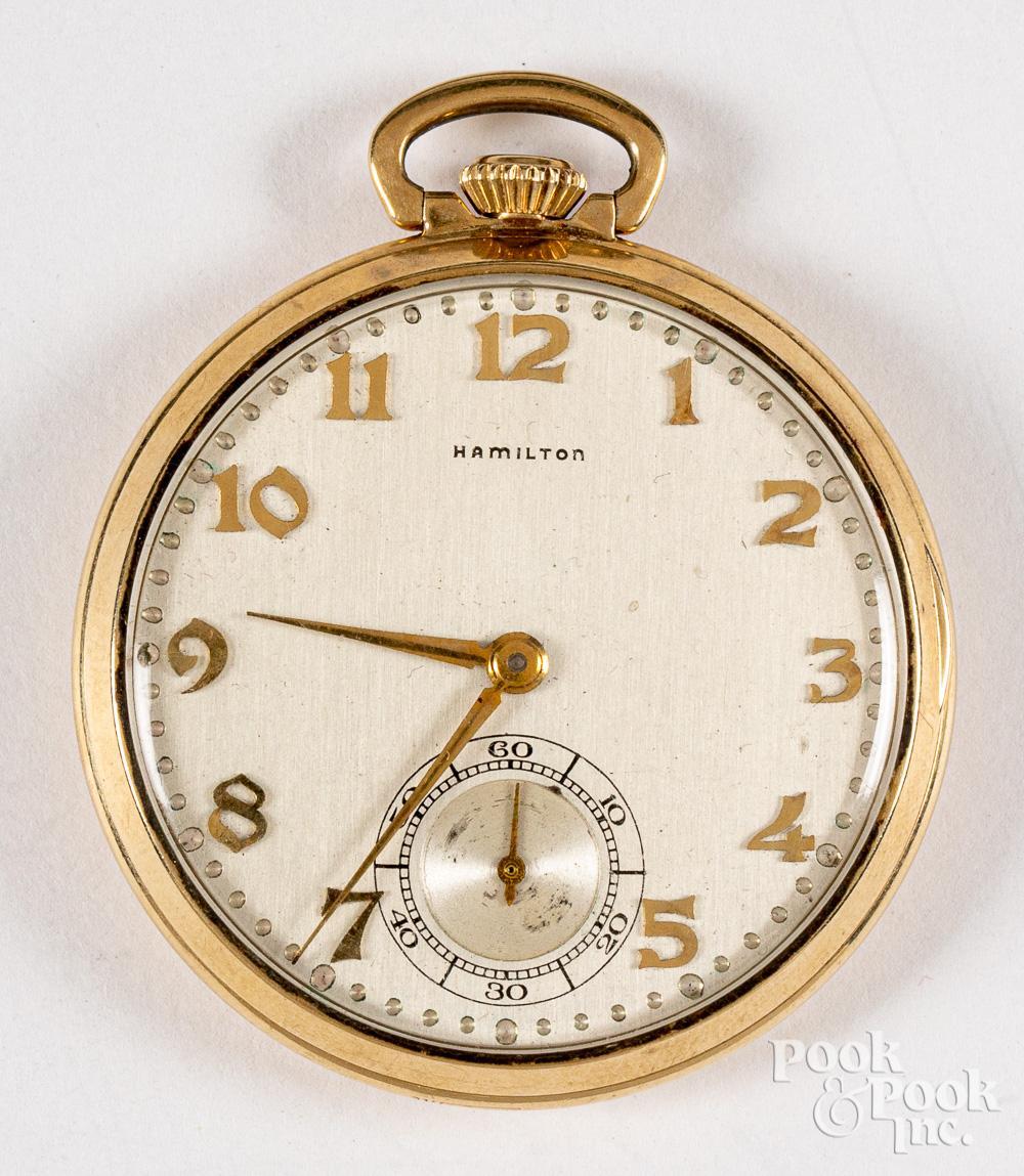 Hamilton 14K gold pocket watch.