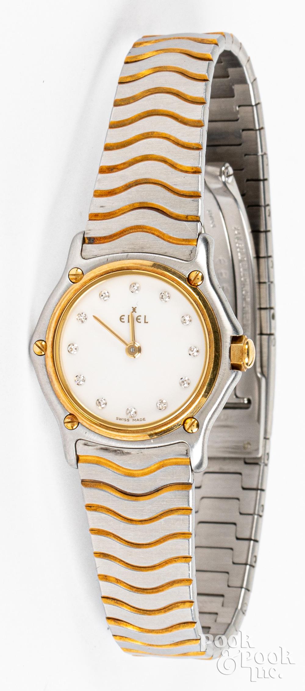 Ebel ladies wristwatch with 18K gold bezel.