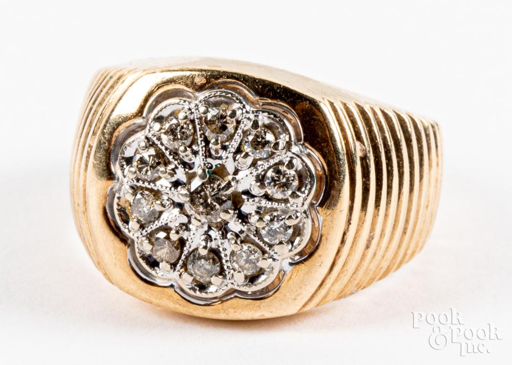 10K gold and diamond ring, 5dwt, size 9.