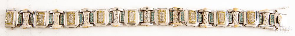 10K gold & colored diamond bracelet, 24.3dwt.